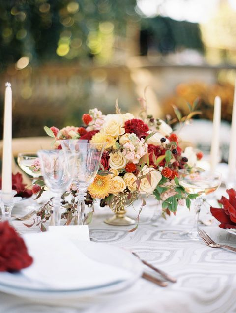 20 best fall wedding flowers wedding bouquets and centerpieces for fall wedding flowers kristin la voie romantic red and gold arrangement mightylinksfo