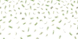 Falling hundred dollar banknotes isolated on white background vector illustration