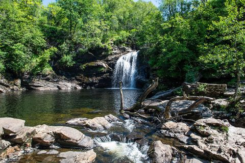 Falls of Falloch, a picturesque waterfall in Loch Lomond and Trossachs National Park, 5km south of Crainlarich on the A82, Stirling Region, Scotland