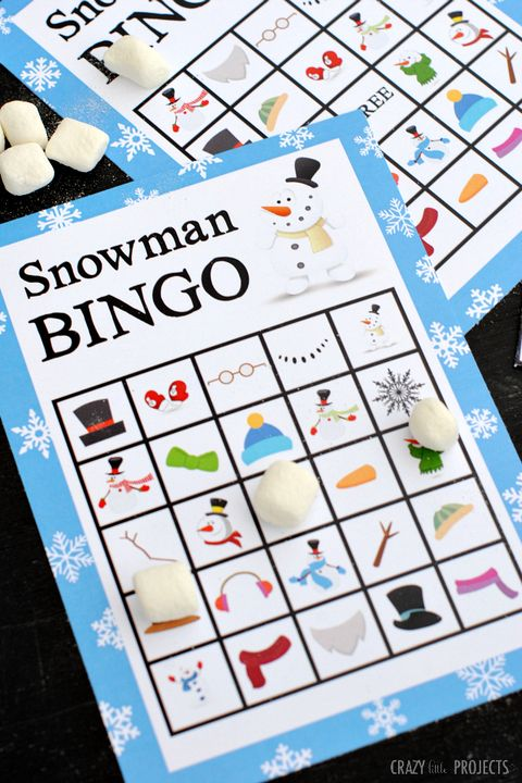 family christmas games snowman bingo
