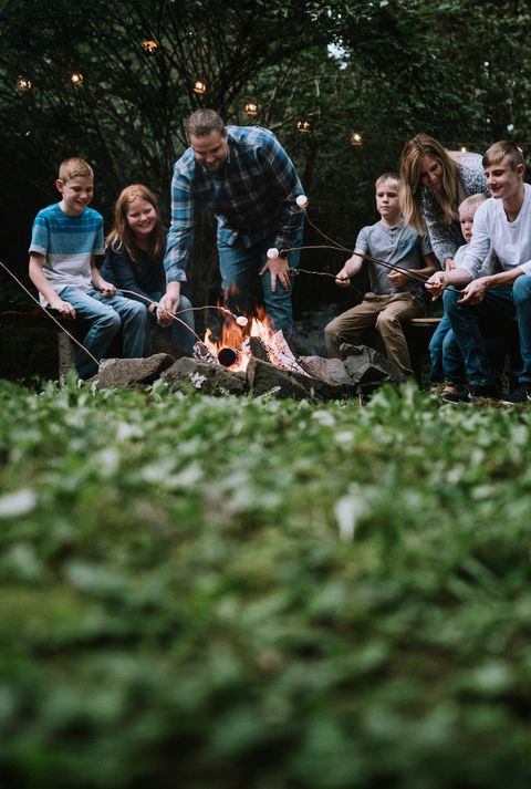 family fun around a campfire with s'mores