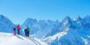 Family on ski trip, Chamonix, France