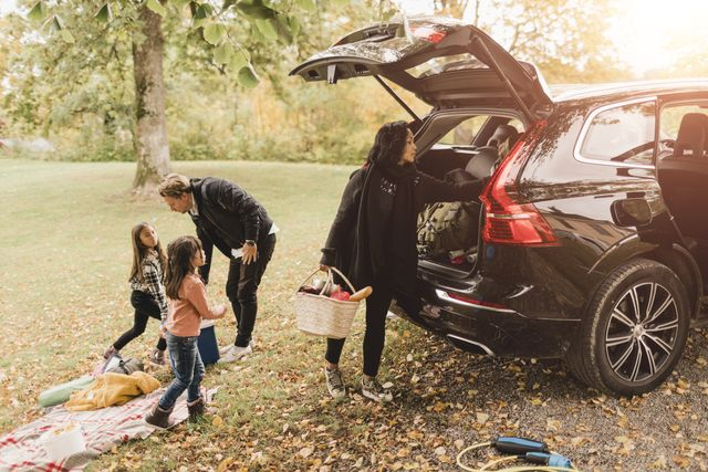 family unloading luggage from electric car on field during picnic