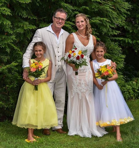 Bride, Bridal party dress, Child, Ceremony, Dress, Bridal clothing, Wedding dress, Wedding, Wedding ceremony supply, Event,