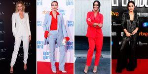 El traje de chaqueta se convierte en la prenda estrella de la temporada y famosas como Karlie Kloos, Marta Hazas, Cristina Pedroche y Megan Montaner, lo saben.