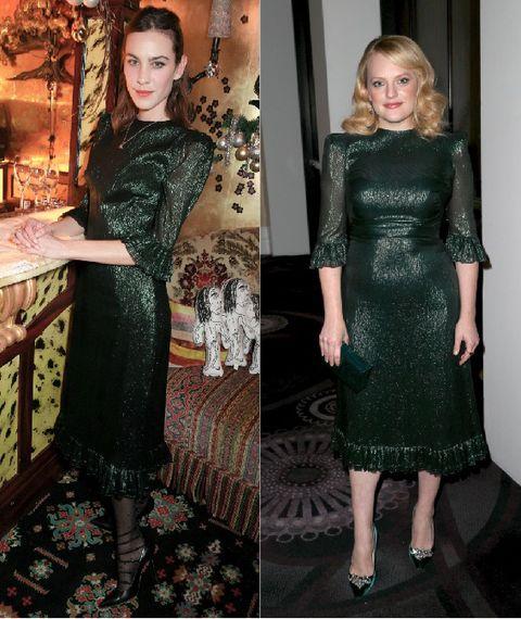 Alexa Chung  y Elisabeth Moss vestidas igual