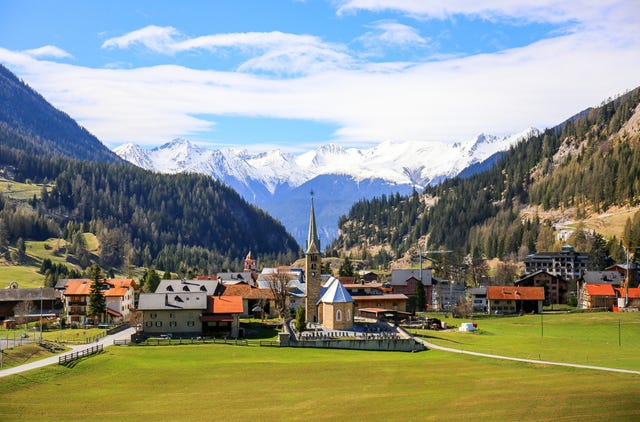 famous bergünbravuogn village along the panoramic golden pass line train in west of switzerland