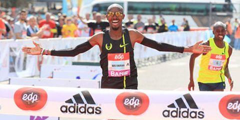 Mo Farah Winning Lisbon Half Marathon