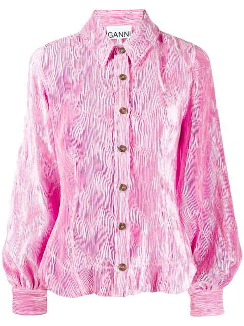 Clothing, Pink, Outerwear, Sleeve, Magenta, Blouse, Top, Collar, Violet, Jacket,