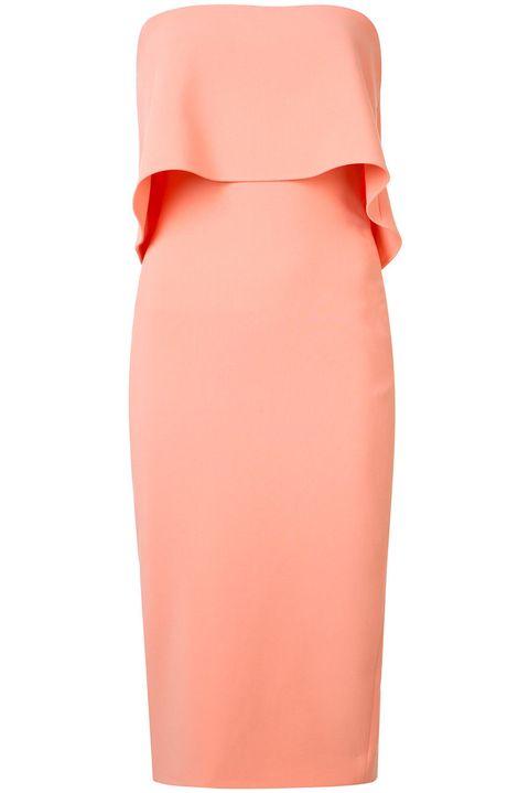 Clothing, Pencil skirt, Orange, Pink, Dress, Strapless dress, Peach, Sheath dress, Neck, Formal wear,