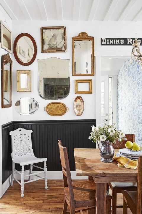 farmhouse decor - mirrors dining room