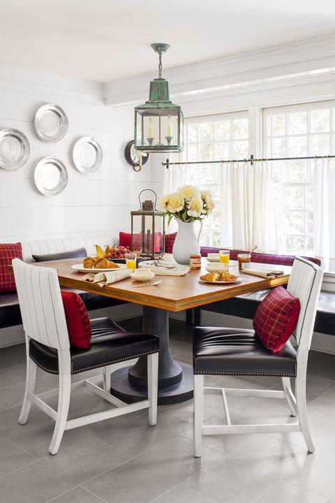 farmhouse decor - plate wall dining room