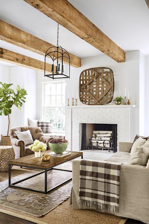 farmhouse decor - wooden beam living room
