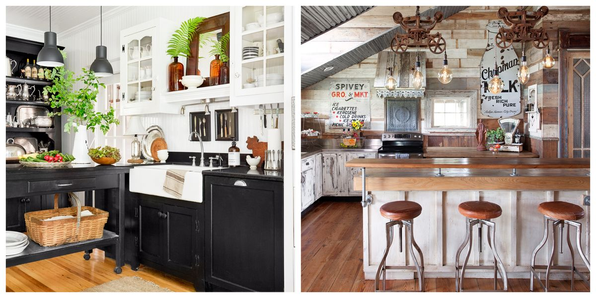 34 Farmhouse Style Kitchens - Rustic Decor Ideas for Kitchens on Farm House Kitchen Ideas  id=60849