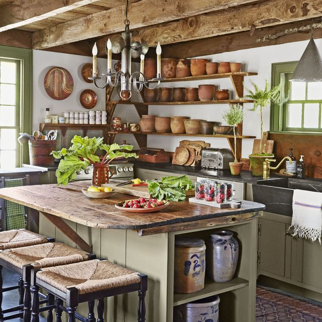 Antique Country Kitchen Cabinets 34 Farmhouse Style Kitchens   Rustic Decor Ideas for Kitchens