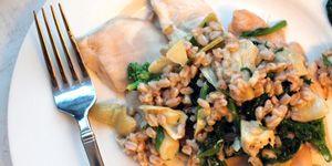 Chicken Breast Paillard with Artichoke, Broccolini, and Farro Salad with 300x150