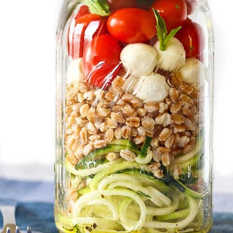 Zucchini Noodle Mason Jar Salad with Farro and Mozzarella