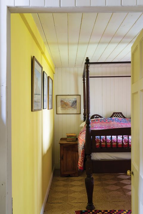 Room, Bed, Property, Ceiling, Furniture, Yellow, Floor, Interior design, Building, House,
