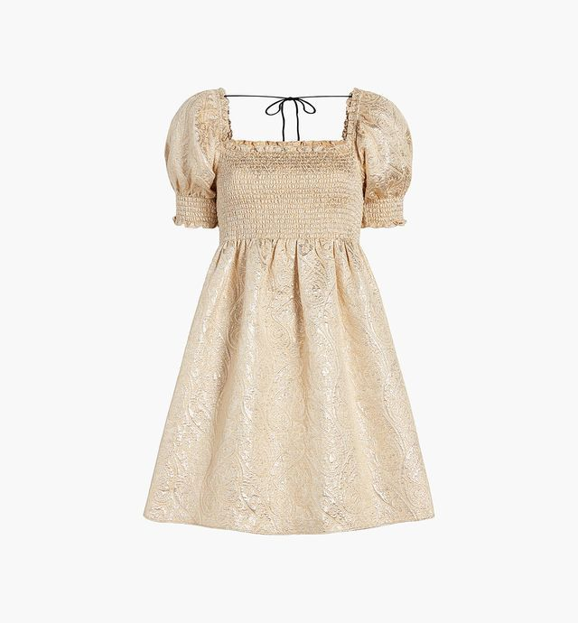 empire waisted brocade dress