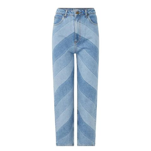 sandro   high waist tapered   fit mom jeans met streepprint