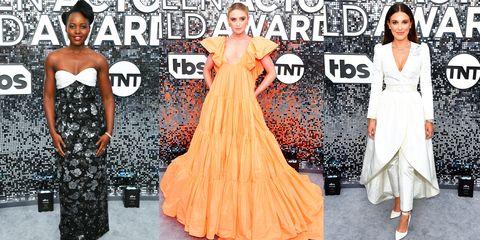 Dress, Fashion model, Clothing, Gown, Shoulder, Fashion, Red carpet, Carpet, A-line, Orange,