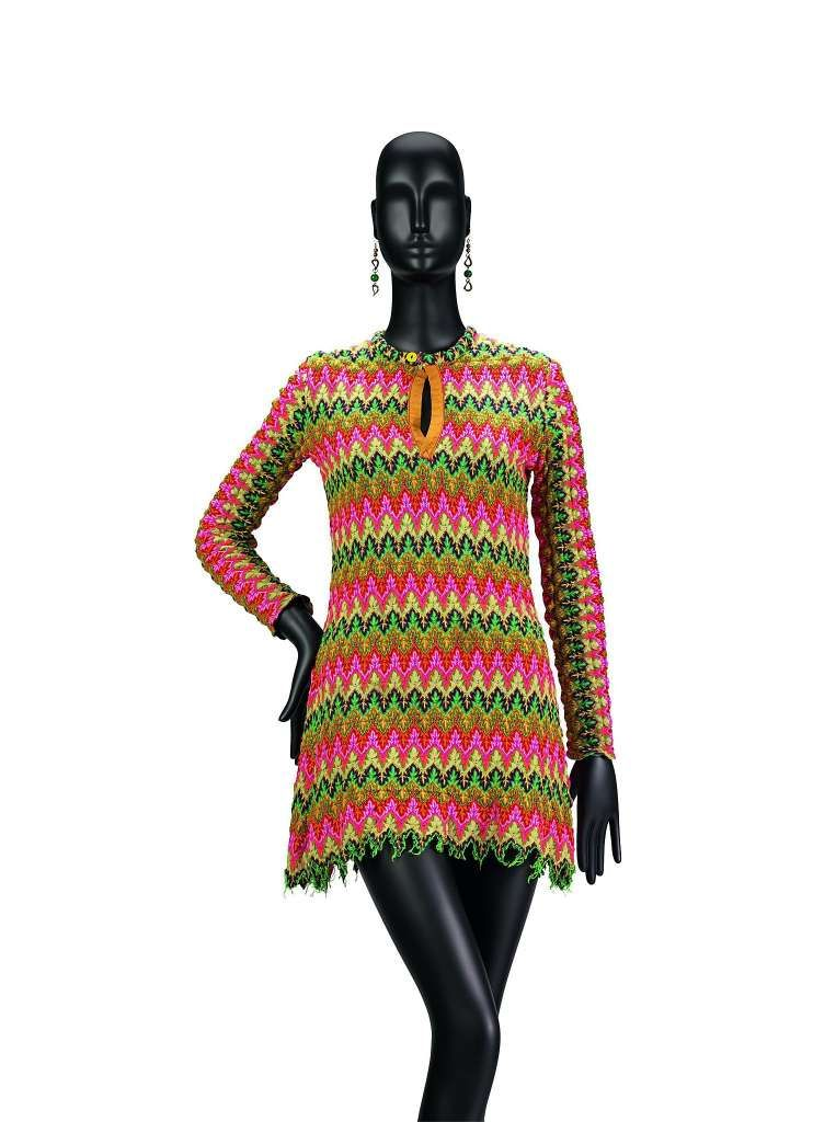 Jeanne Rose, DMT, dress, circa 1968, is one of the few pieces she made in synthetic knit. Collection of the artist.