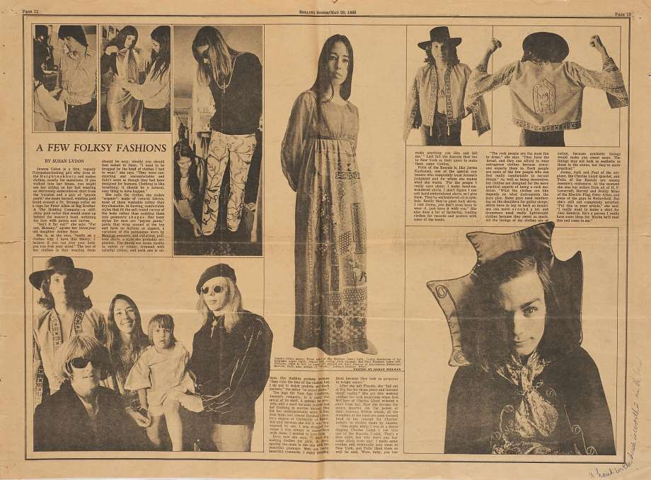A spread in Rolling Stone magazine shows Gary Duncan of Quicksilver Messenger Service, members of Jefferson Airplane and Big Brother and the Holding Company wearing Rose's designs.