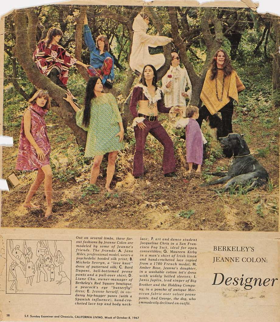"""From Jeanne Rose's scrapbooks, the 1967 """"Out on the Limb"""" story for California Sunday Magazine with Janis Joplin modeling. Rose (center, in maroon crop top) is surrounded by friends wearing her clothes, including Janis Joplin (far right) in a Moroccan fabric poncho and velvet pants and Jacqueline Chris in Rose's white Fog Suit."""