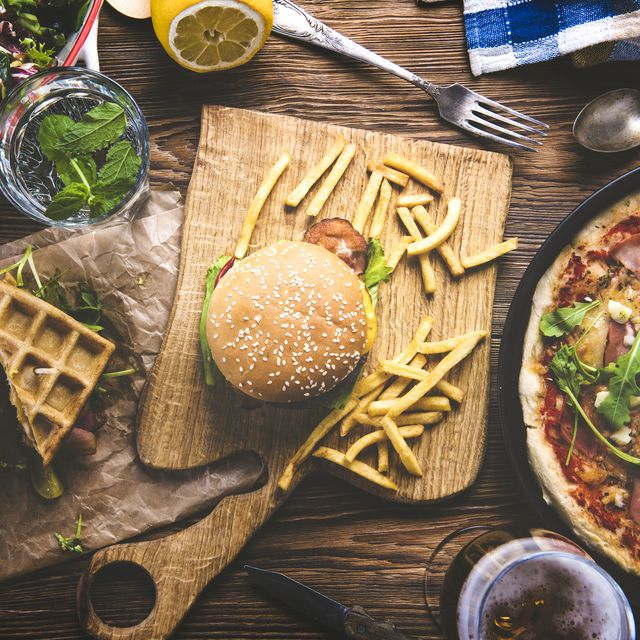 fast food and drink on table