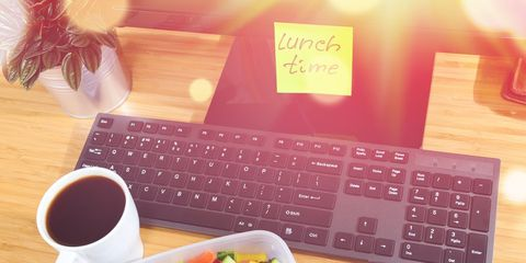 Lunch time at desk
