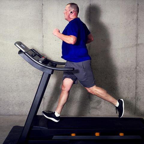 fat man running on treadmill
