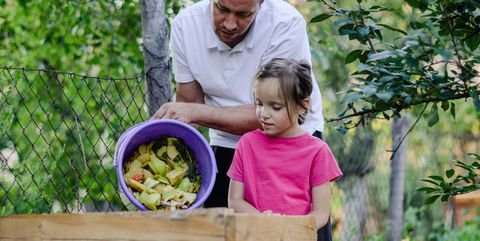 father and daughter composting kitchen waste