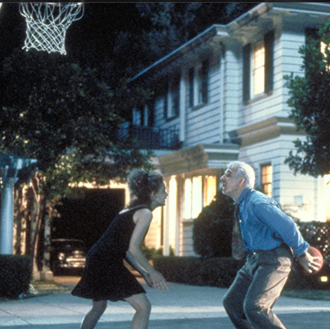 the scene in father of the bride when annie kimberly williams plays basketball against her dad played by steve martin