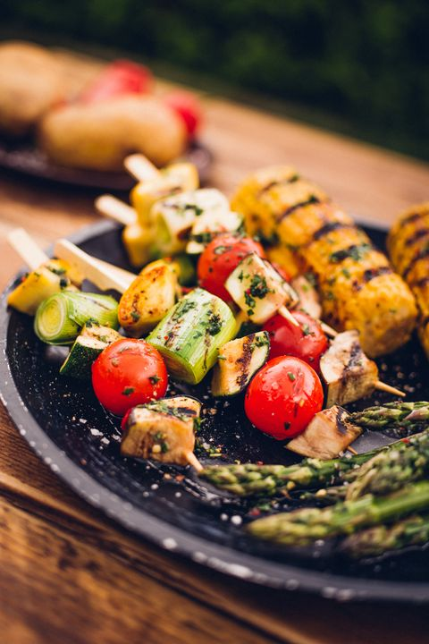 grilled kebabs and grilled corn