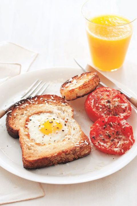 fathers day brunch egg in a hole with broiled tomatoes
