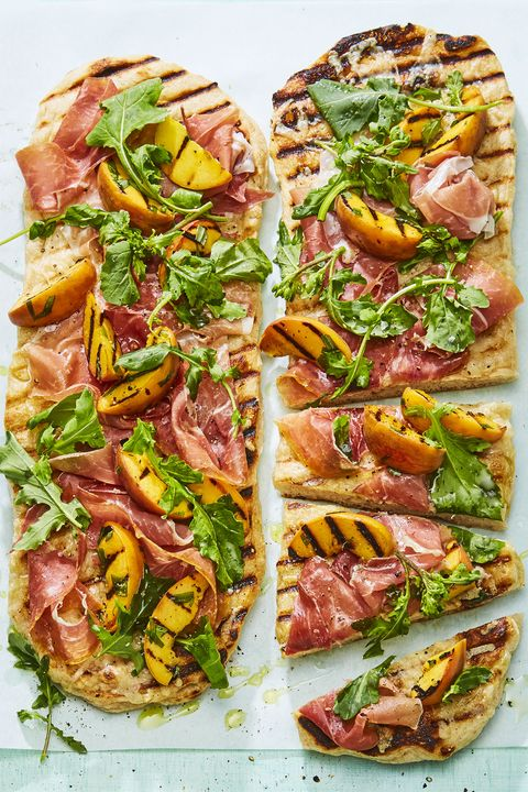 peach and prosciutto flatbreads