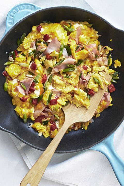 fathers day brunch pimiento cheese and ham scramble