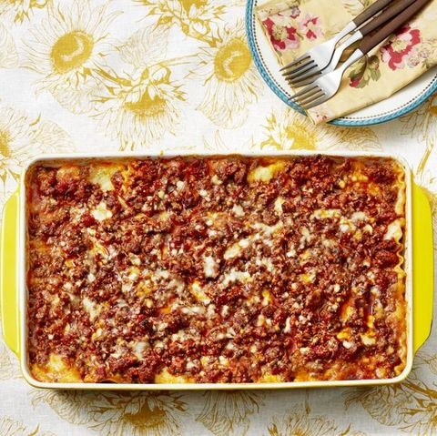 lasagna in yellow casserole pan