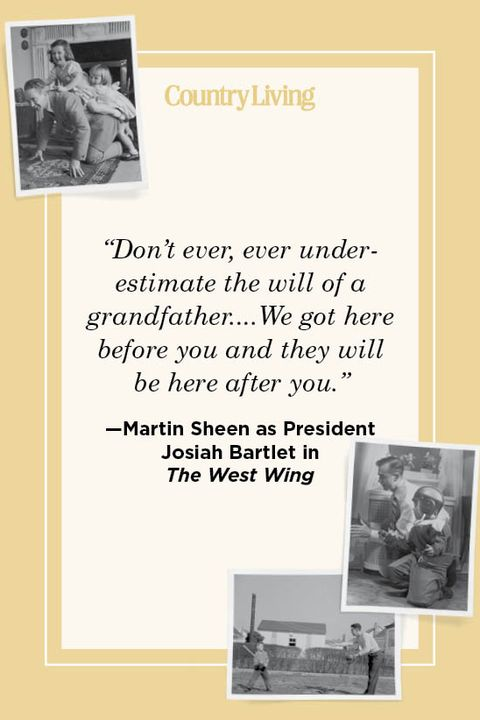 """""""don't ever, ever underestimate the will of a grandfatherwe got here before you and they will be here after you"""" —martin sheen as president  josiah bartlet in  the west wing"""