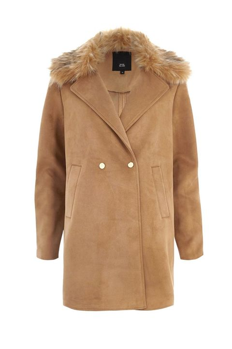River Island brown thick camel coat with faux fur collar