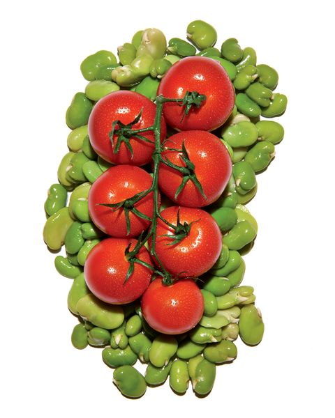 fava bean and tomatoes