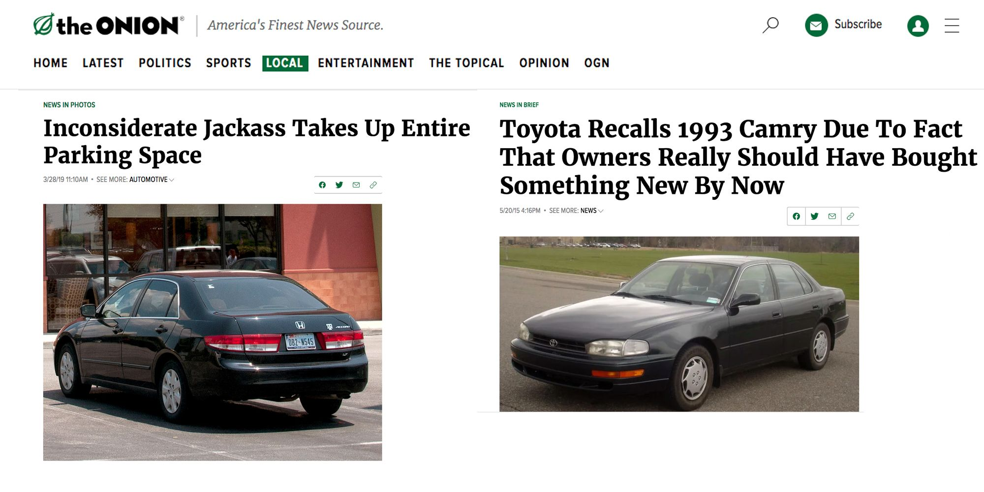 10 of Our Favorite Car Stories from The Onion
