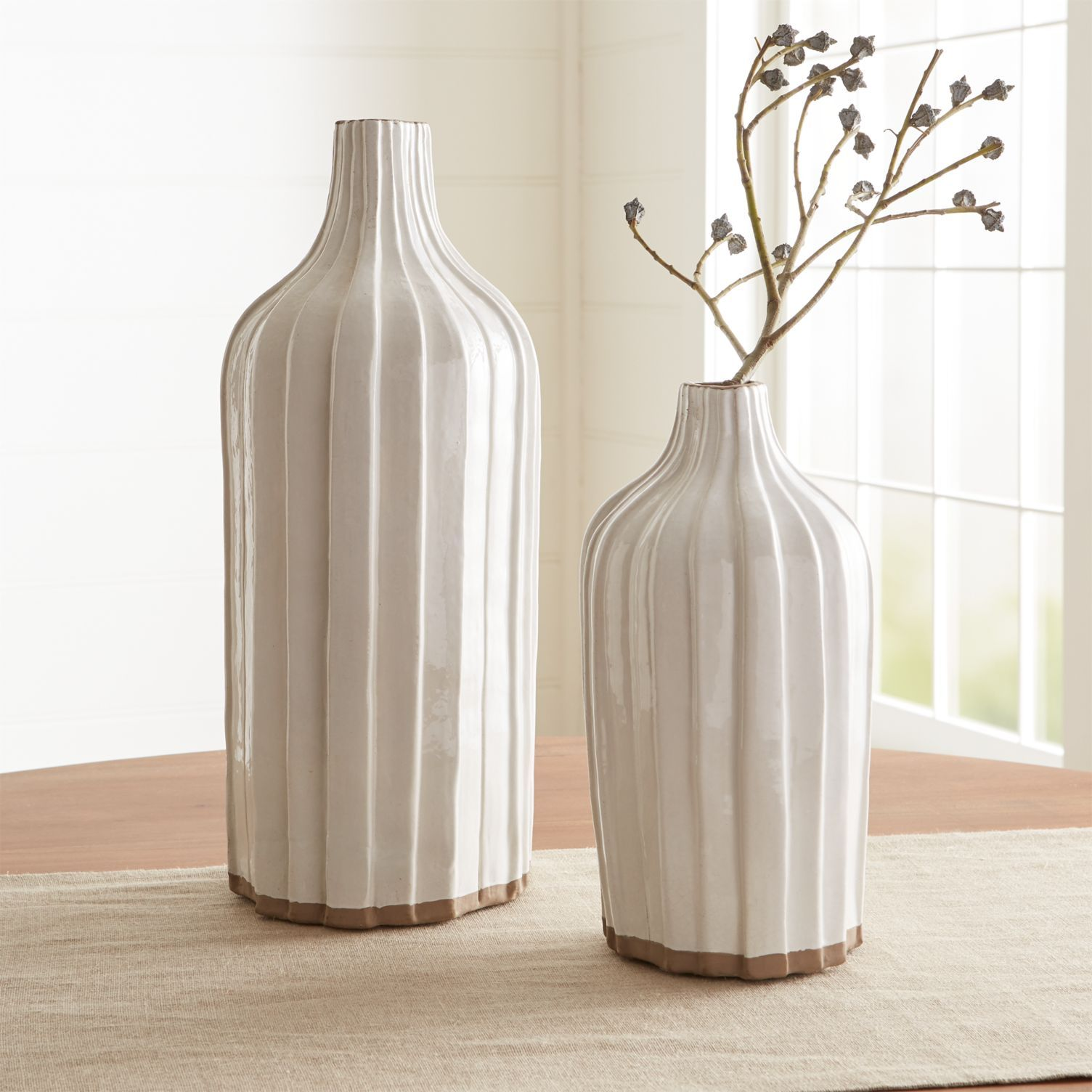 Designer Sample Sale Contemporary Craft Ceramic Vase Beachy Minimalist Blue /& White Textured Vase