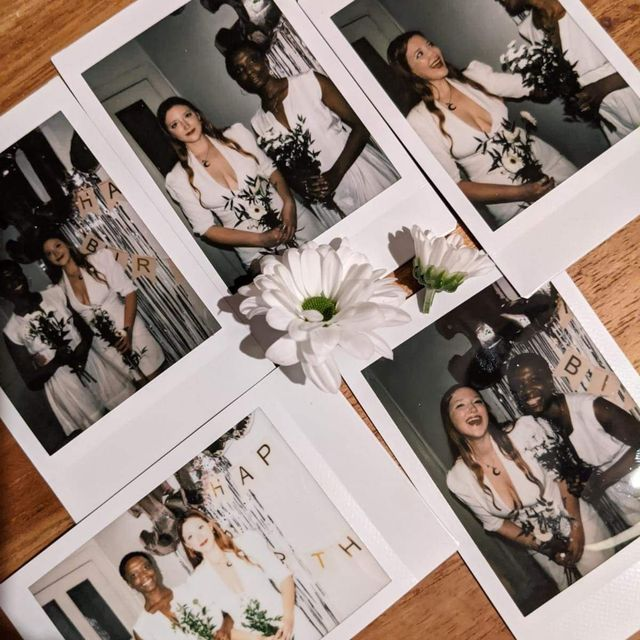 polaroid pictures of a wedding between two women