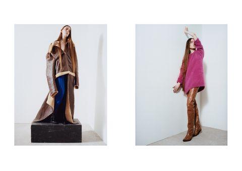Brown, Purple, Fashion, Costume, Magenta, Beige, Liver, Maroon, Sculpture, Costume design,