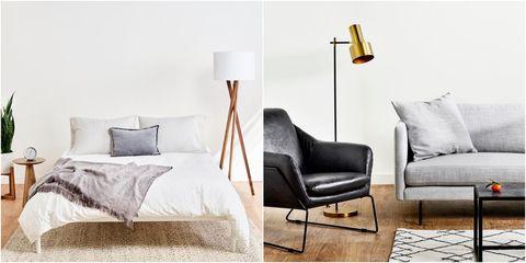 Furniture, Lighting, Room, Couch, Interior design, Lamp, Sofa bed, Floor, Light fixture, Wall,