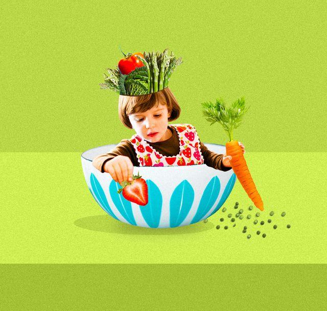 little girl sitting in a bowl holding veggies