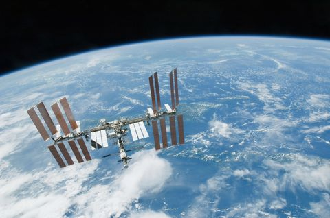 February 19, 2010 - The International Space Station backdropped by Earth's horizon and the blackness of space.