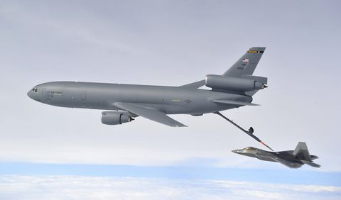 february 7, 2013   a kc 10 extender refuels an f 22 raptor during exercise razor talon at seymour johnson air force base, north carolina
