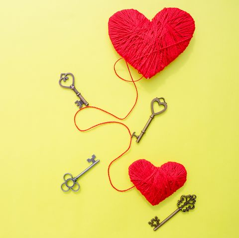 14 february, Keys with the heart as a symbol of love. Greeting card with red heart on yellow background. Valentines day background. Key of my heart concept. path to heart. Valentines Day.Copy space